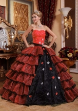 Affordable Ball Gown Appliques Floor-length Multi-color Quinceanera Gowns