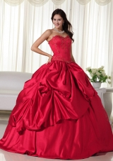 d7ab9a65c9c Classical Red Puffy Sweetheart Embroidery Quinceanera Dresses  US  187.6900