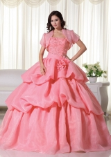 a51bdd8e1c Discount Strapless Organza Hand Made Flowers Quinceanera Dress with Pick-ups   US  198.6900