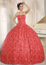 Embroidery Sequins Sweetheart Red Quinceanera Dresses 2014
