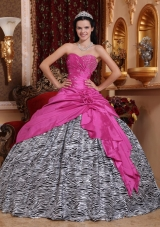 2014Hot Pink Ball Gown Sweetheart Quinceanera Dress  with Taffeta Zebra Beading