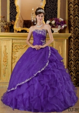 Princess Strapless Organza Appliques for Purple  Sweet 16 Dresses