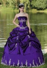 Custom Made Purple Quinceanera Dress for Party Wear With Satin Embroidery Decorate