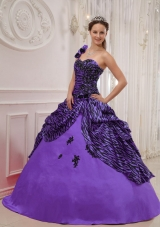 684437ab17e Purple One Shoulder Zebra Appliques and Pick-ups Sweet 16 Dresses  US   212.6900. 54%. Affordable Purple Strapless Appliques Quinceanera ...