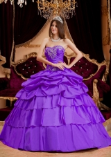 New Style Sweetheart Taffeta Appliques and Pick-ups Quinceanera Dress