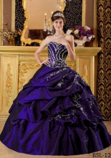 Purple Sweetheart Taffeta Quincenera Dresses with Appliques and Pick-ups