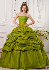 Discount Olive Green Ball Gown Sweetheart Appliques Quinceanera Dress