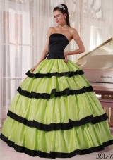 Olive Green and Black Strapless Quinceanera Dress with Layers