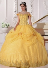 2014 Golden Off The Shoulder  Appliques Quinceanera Dress with Hand Made Flowers