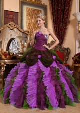 2014 Appliques and Beading Puffy Quinceanera Dress with Strapless