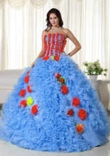 2014 Aqua Puffy Strapless Long Quinceanera Dresses with Beading