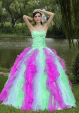 2014 Colorful Sweetheart Sweet 16 Dresses With Beaded Drcorate Ruffled Layers