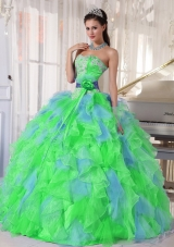 2014 Multi-color Sweetheart Appliques Quinceanera Dresses with Flower