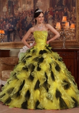 2014 Spring Colourful Puffy Strapless Quinceanera Dresses with Ruffles