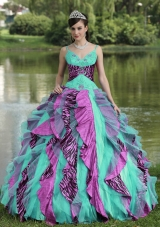 2014 Spring Straps Beading Colorful Quinceanera Dresses