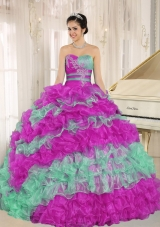 Beautiful Multi-color Ruffles and Appliques 2014 Quinceanera Dresses Sweetheart