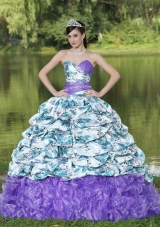 Colorful Beading Pick-ups Ruffles Brush Train 2014 Quinceanera Dresses