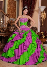 Cute Multi-color Puffy Strapless Embroidery Quinceanera Dresses for 2014