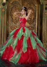 Modest Red Puffy Strapless Beading and Ruffles Quinceanera Dresses for 2014