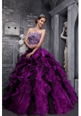 Pretty Fuchsia Sweetheart Ruffles and Beading Quinceanera Dresses for 2014