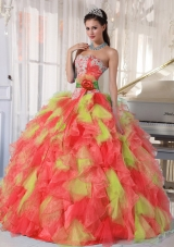 2014 Affordable Appliques and Ruffles Multi-color Quinceanera Dresses