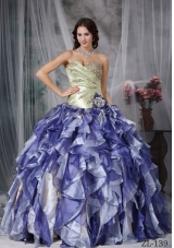 2014 Spring Colorful Puffy Sweetheart Beading and Ruffles Quinceanea Dresses