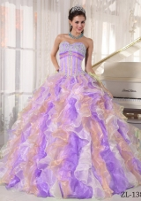 Popular Multi-color Puffy Sweetheart 2014 Appliques Quinceanera Dresses