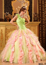 2014 Multi-Color Puffy One Shoulder Beading and Ruffles Quinceanera Dresses