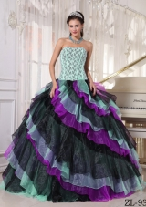 2014 Multi-color Puffy Strapless Appliques and Beading Quinceanera Dresses