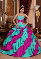 2014 Multi-color Puffy Strapless Quinceanera Dresses with Embroidery
