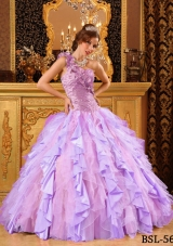 2014 Pretty Puffy One Shoulder Beading And Ruffles Sweet 16 Dresses