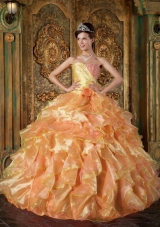 2014 Puffy Strapless Beading and Ruffles Quinceanera Dresses
