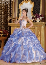 2014 Purple Puffy Sweetheart Appliques Quinceanera Dresses with Ruffles