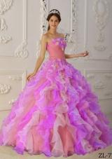 2014 Romantic Multi-Color Puffy Strapless Ruffles Quinceanera Dresses