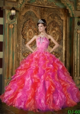 2014 Spring Hot Pink Puffy Strapless Quinceanera Dresses Ruffles