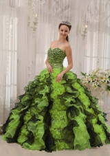 Multi-colored Puffy Sweetheart with Beading Quinceanera Dresses for 2014