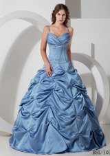 2014 Princess Spaghetti Straps Beading Quinceanera Dresses with Pick-ups