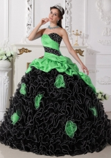 Colourful Puffy Sweetheart Beading and Rolling Flowers 2014 Quinceanera Dresses