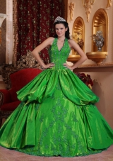 Exquisite Green Puffy Halter Appliques for 2014 Quinceanera Dress with Pick-ups