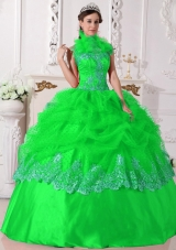 Luxurious Puffy Halter for 2014 Beading and Appliques for  Spring Green Quinceanera Dress