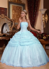 Affordable Puffy Strapless Appliques 2014 Quinceanera Dresses with Pick-ups