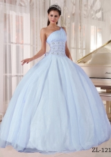 2014 Gorgeous One Shoulder Light Blue Puffy Quinceanera Dress with Beading