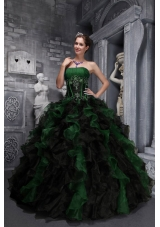 Exclusive Strapless for 2014 Appliques and Ruffles for Green and Black Quinceanera Dress