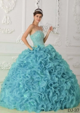 Sweet Puffy Strapless 2014 Spring Beading Quinceanera Dress with Ruffles