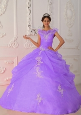 Custom Size Lavender Puffy V-neck 2014 Quinceanera Dresses with Appliques
