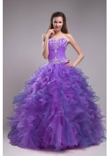 Pretty Puffy Sweetheart Ruffles and Appliques Quinceanera Dress for 2014