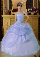 Luxurious Quinceanera Dresses in Light Blue Puffy Strapless 2014 Beading Ruched