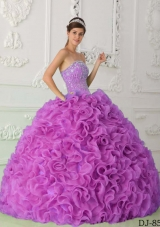 Strapless Fuchsia Organza Beaded Decorate Bodice Sweet 15 Dresses