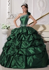 2014 Dark Green Ball Gown One Shoulder Quinceanera Dresses with Appliques