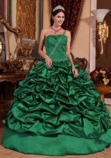 Dark Green Ball Gown One Shoulder 2014 Quinceanera Dresses with Pick-ups